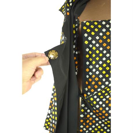 goto asato  Shibori Lightning Dress Coat   〔LT-CT01X〕 (01:黒地に黄・オレンジ・白の絞り)