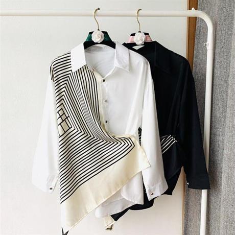スカーフ調コンビネーションシャツ〔OB023〕