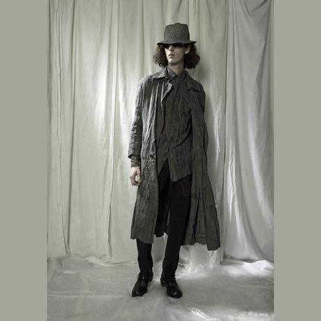 KOHSHIN SATOH メンズ ムラ染めワッシャーシャツ 〔SL-211〕(Grey-48)