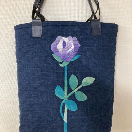 アップリケの手提げ(紫のバラ)