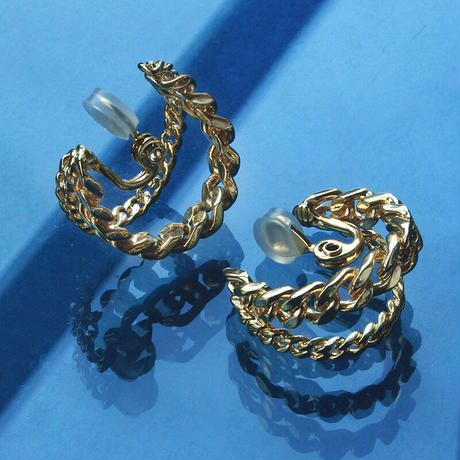 〈DE-ER181〉double chain earring/ pierce