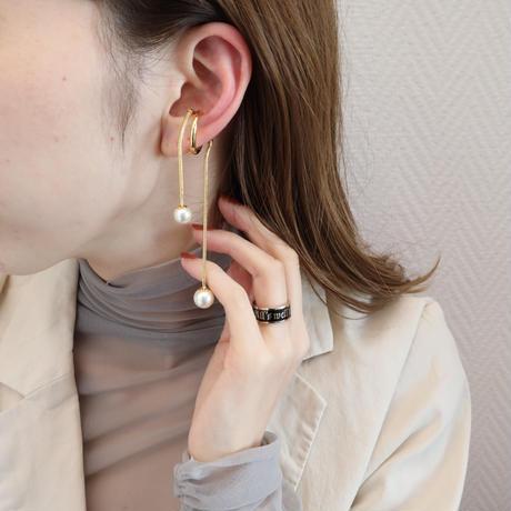〈DE-EC66〉snake chain pearl ear cuff
