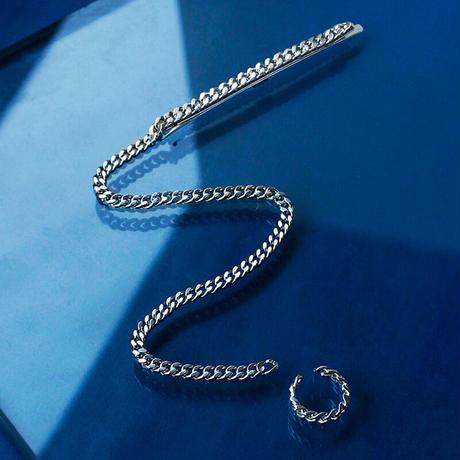 〈DE-CP16〉long chain pin & ear cuff