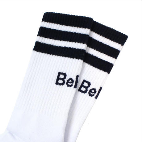 """Belief"" Court Sock - White/Navy"