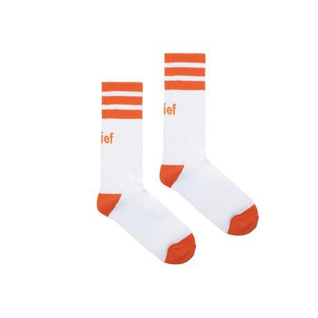 """Belief"" Court Sock - White/Orange"