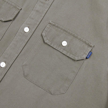 """ONLY NY"" Washed Cotton Work Shirt (Stone Green)"