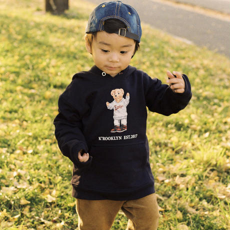 K'rooklyn × 上岡 拓也 Collaboration Kids Hoodie -Navy-