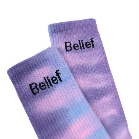 """""""Belief"""" Logo Sock - Purple Multi"""
