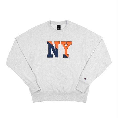 """ ONLY NY"" NY Crew Champion Reverse Weave Crewneck (Heather Grey)"