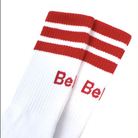 """""""Belief"""" Court Sock - White/Red"""