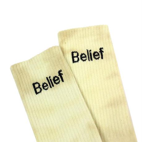 """""""Belief"""" Logo Sock - Yellow Dye"""