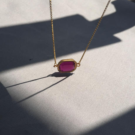 Brass lucite octagon necklace