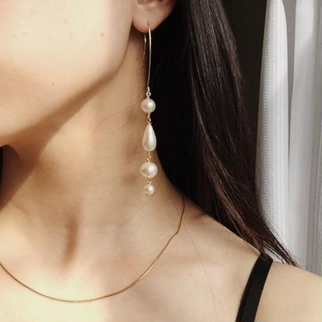 Long pearls drop pierced