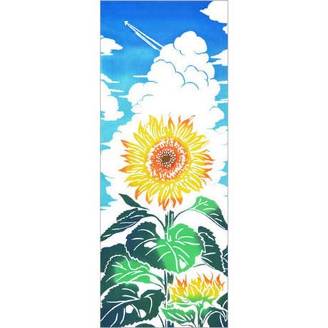 〔手拭壱本〕ちょっと長めの上等手ぬぐい 梨園染  伝統工芸注染 〈四季〉ひまわり 柄(約37×約98センチ)