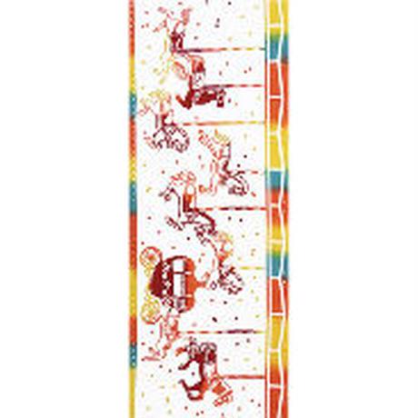 〔手拭壱本〕ちょっと長めの上等手ぬぐい 梨園染  伝統工芸注染 回転木馬 柄(約37×約98センチ)
