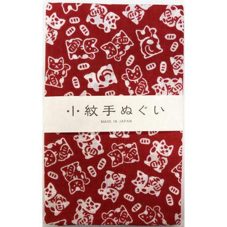 〔手拭壱本〕小紋手ぬぐい 招き猫柄(33×90㎝)