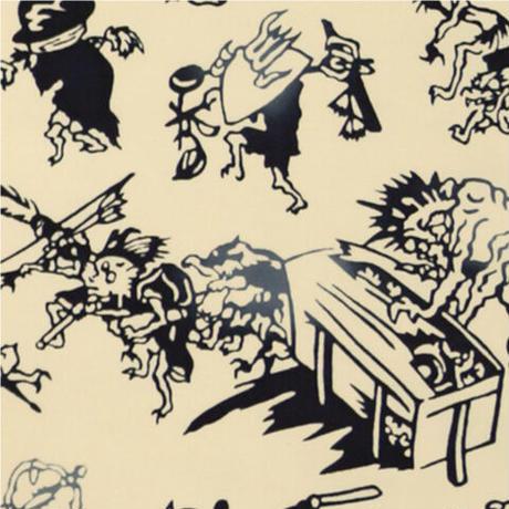〔手拭壱本〕ちょっと長めの上等手ぬぐい 梨園染  伝統工芸注染 百鬼夜行 柄(約37×約98センチ)