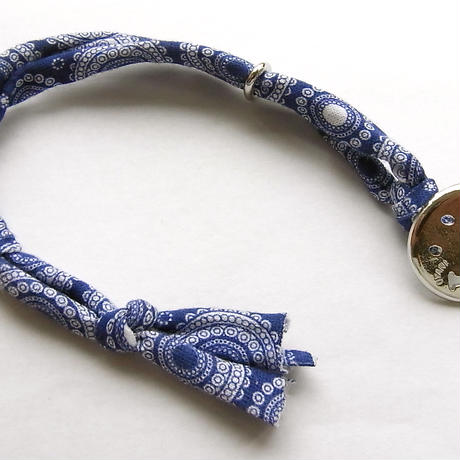 Smiley with wavy mouth Bracelet / Paisley Blue