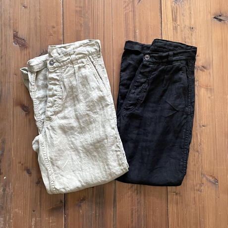LINEN HERRINGBONE (OVER DYE) ONE-TUCK PANTS NAM1203LH / ARMEN