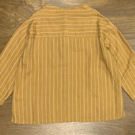 リネンストライプ7分袖ボトルネックシャツ P81139 / prit