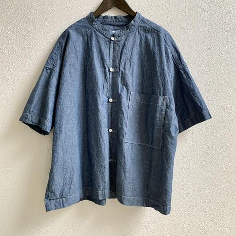 綿麻シャンブレー 5分袖スタンドカラービッグシャツ P82103/ prit