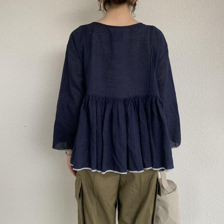 RAJASTHAN TUCK GATHERED 3/4SL PULLOVER / maison de soil