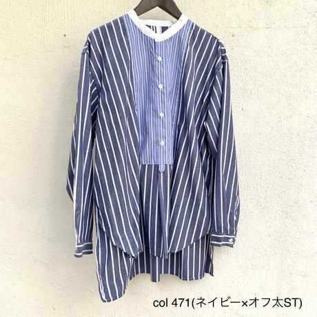 先染ブロード クレリックパネルシャツ 7211T-013 / NATURAL LAUNDRY