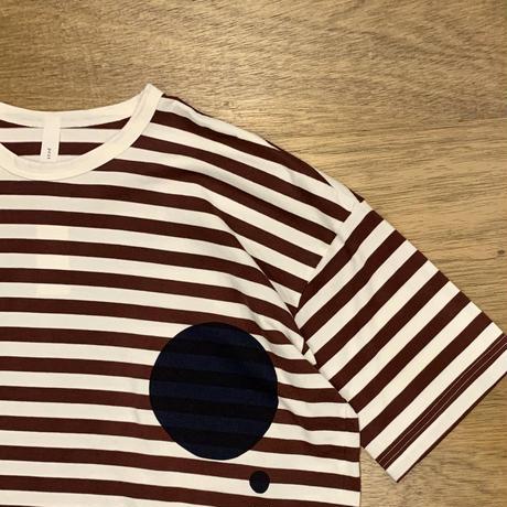 40/2インド超長綿天竺ボーダー ツインドットクルーネックワイドTシャツ P92169 / prit