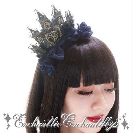【受注商品】黒夜城の王冠(青薔薇)(黒薔薇)