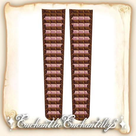 チョコレートボーダー オーバーニーソックス(ルビー×チョコ)