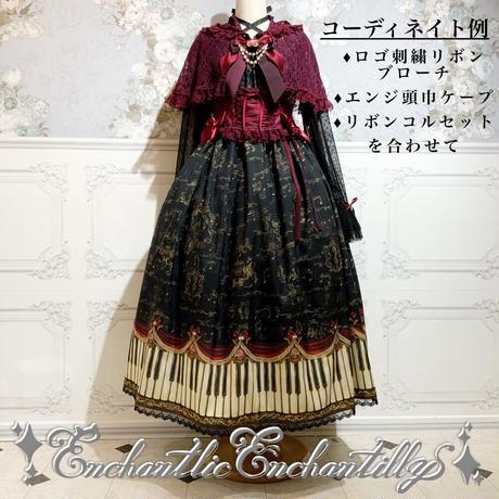 アンティークエレガンスピアノ柄 ワンピース(黒)