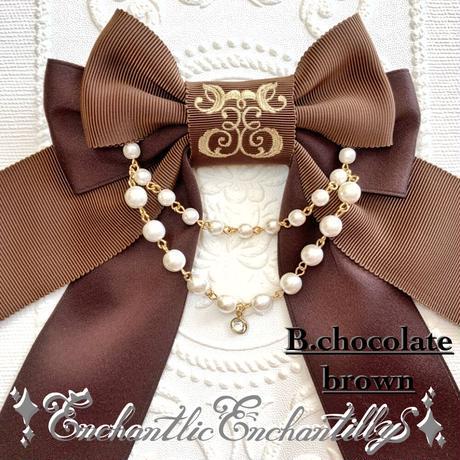 ロゴ刺繍パールリボンブローチ(茶×生成り、chocolate  brown)