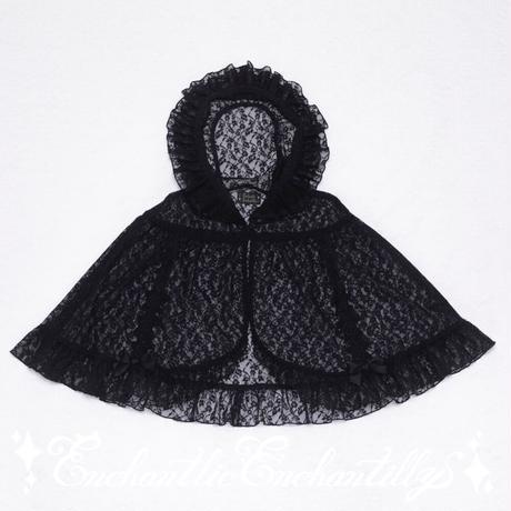 黒頭巾のレースケープ (黒×黒レース)