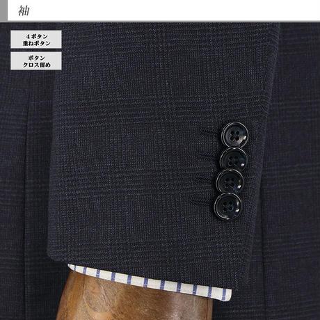 【31-2Y5C02】 ビジネススーツ 紺杢 グレンチェック ストレッチ 秋冬 ワンタックパンツ