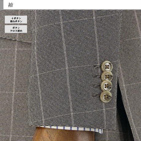【35-2YCC04】スーツ メンズ スリーピース スリムスーツ 濃ベージュ ウィンドペン チェック ストレッチ リンクルフリー 秋冬