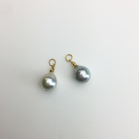 K18Blue-greyアコヤ真珠/イヤリング&ピアス兼用チャーム