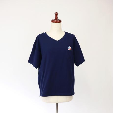 1903122 天竺BIG Tシャツ半袖Vネック(国旗スマイル)