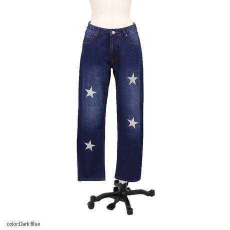 2011801 星刺繍ストレートデニムパンツ