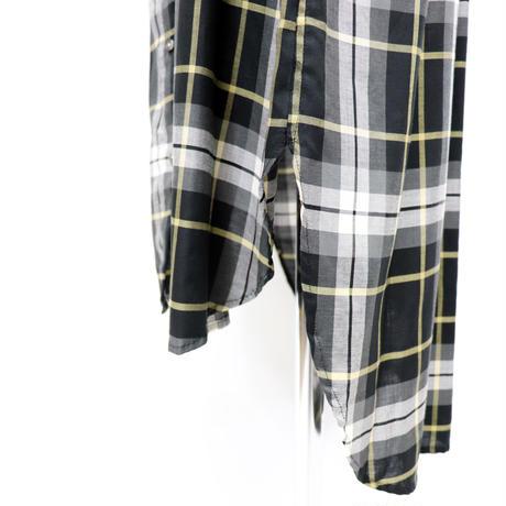 2004602 スタンドカラーロングチェックシャツ