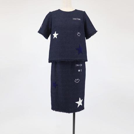 1901702 さがら刺繍ツイードスカート