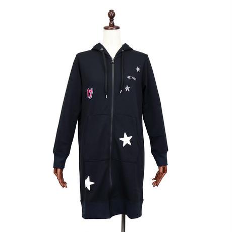 2004106   刺繍ワッペン裏毛ロングジップパーカー(Extraordinary Patch Long Hoodie)
