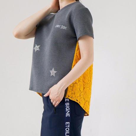 1810107 スワロ刺繍ボンディング×レースプルオーバー