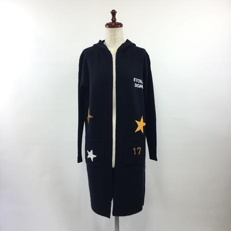 1804218 フード付き刺繍ロングカーディガン