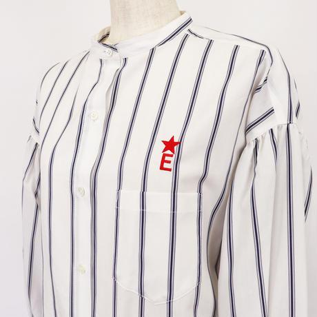 2011602 ストライプパフスリーブロングシャツ