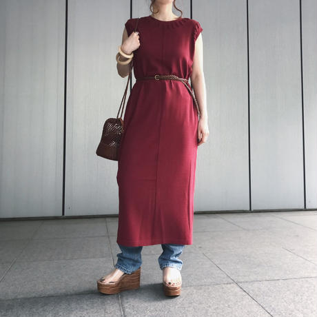 TAPE STITCH LONG KNIT OP〈RED〉
