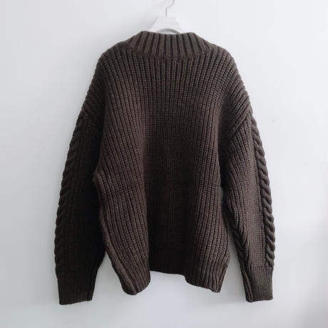 LOW GAUGE CABLE KNIT CD<BROWN>
