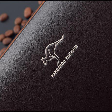 KANGAROO KINGDOM メンズ 実用 セカンドバッグ クラッチバッグ 牛床革 ブラック/ブラウン