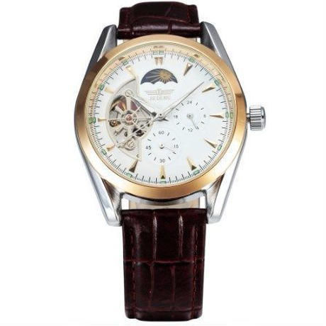 a688c5912d SEWOR メンズ 自動巻き 腕時計 機械式 レザーベルト ムーンフェイズ ホワイト×ブラウン ...