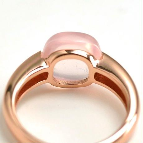 ローズクォーツ リング 指輪 うるうるカボション大粒天然石 ピンクゴールド Silver925 ヌード インドジュエリーお好きな方にも 9~16号相当