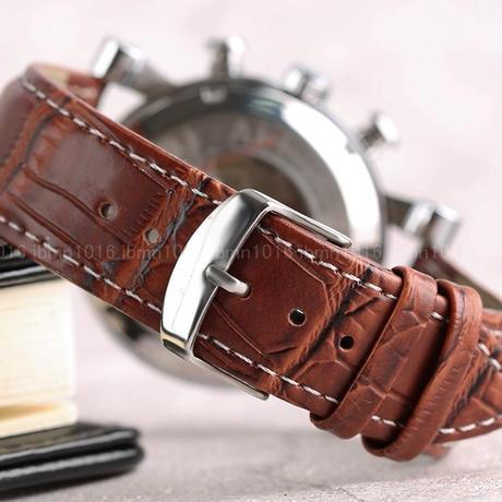自動巻き 腕時計 レザーベルト 海外人気ブランド 高級 ビジネス 機械式 メンズ カレンダー機能 白×茶
